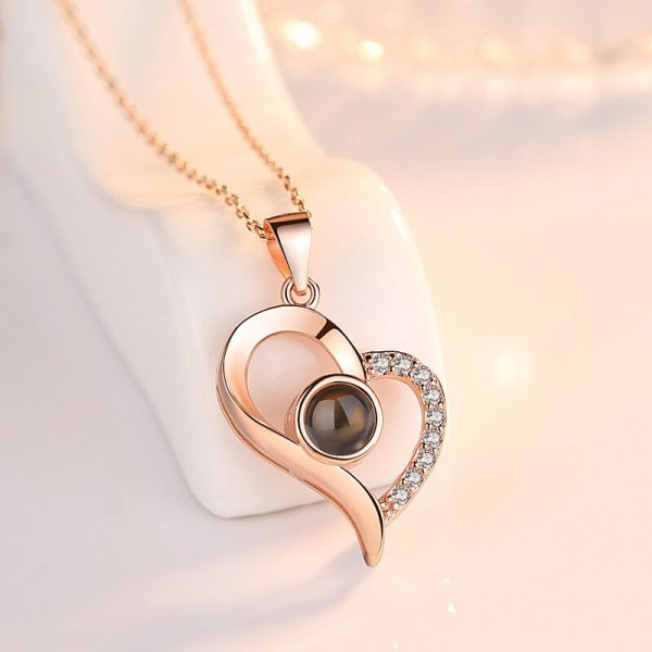 collier je t'aime 100 langues or coeur